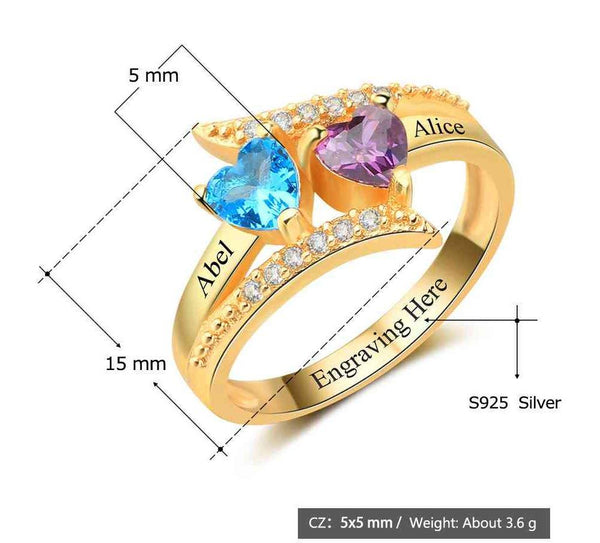 2 Stone Vintage Style 14k Gold IP Mothers Ring - Think Engraved
