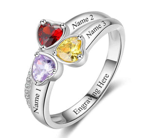 3 Stone Lovely Hearts Personalized Mother's Ring - Think Engraved
