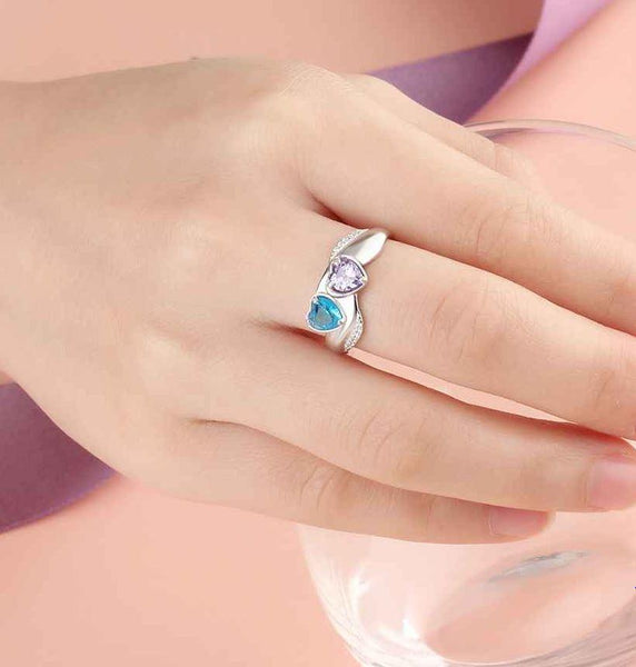 2 Stone Lovely Hearts Mothers Ring or promise Ring - Think Engraved