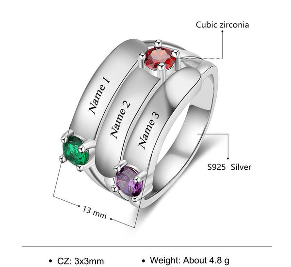3 Stone Stacked Band Mothers Mom Ring - Think Engraved