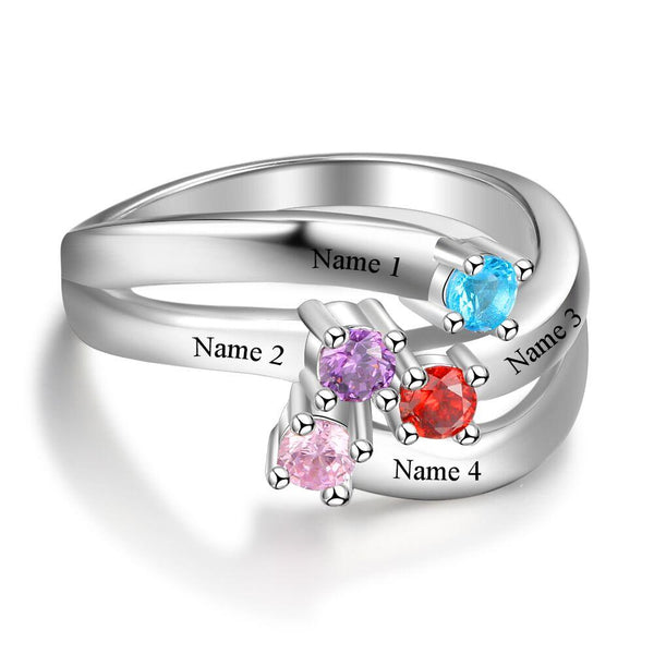 4 Stone Ribbon Band Solitaire Mother's Ring - Think Engraved