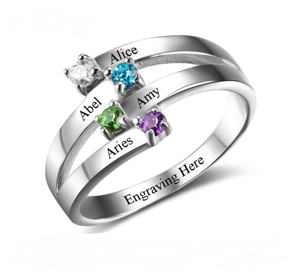 4 Stone Ribbon Mother's Ring Off Set Split - Think Engraved