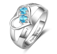 2 Stone Eternal Love Mothers Ring or Promise Ring - Think Engraved