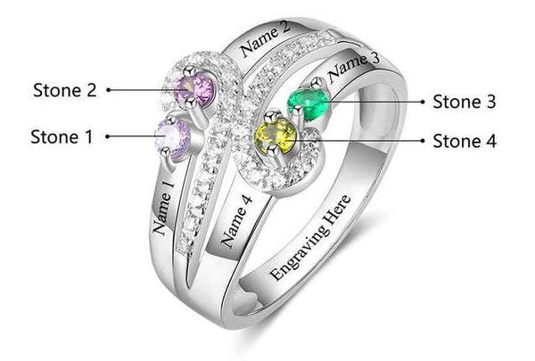 4 stone Vintage Antique Style Engraved Mothers Ring - Think Engraved