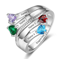 4 Stone Passing Hearts Ribbon Mother's Ring - Think Engraved