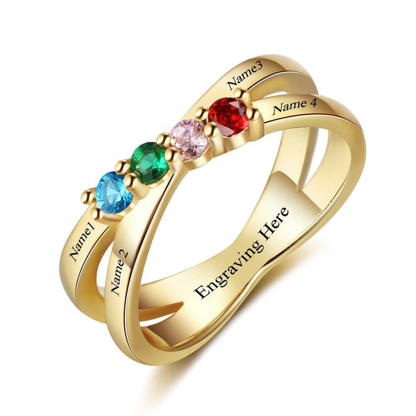 4 Stone Lined Hearts 14k Gold IP Mother's Ring