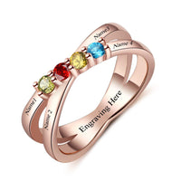 4 Stone Lined Hearts 14k Rose Gold IP Mother's Ring