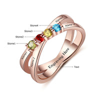 4 Stone Lined Hearts 14k Rose Gold IP Mother's Ring - Think Engraved