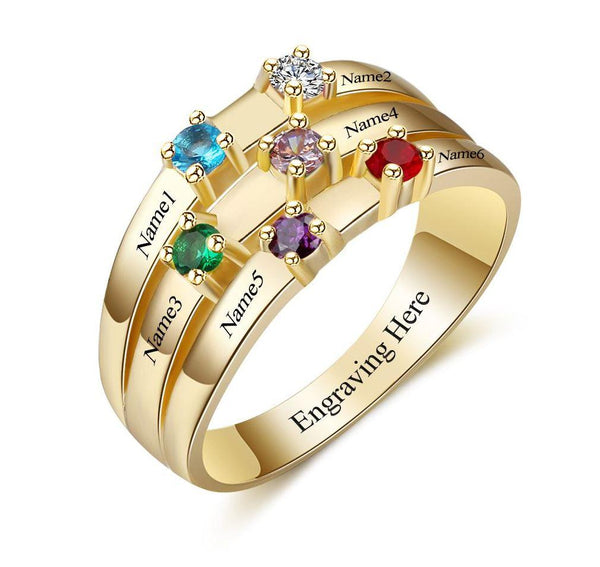 6 Stone 14k Gold IP Ribbon Band Mother's Ring - Think Engraved