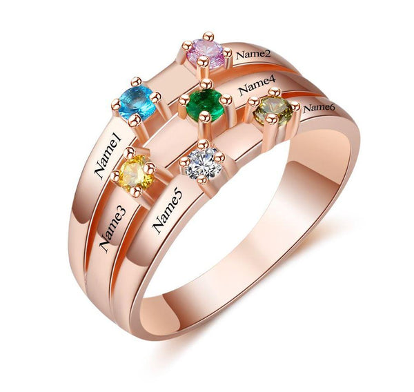 6 Stone 14k Rose Gold IP Ribbon Band Mother's Ring