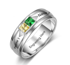 Couples Promise Ring 2 Stone Square Stone Sterling Silver - Think Engraved