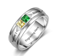 Mothers Ring  2 Stone Square Stone Sterling Silver - Think Engraved