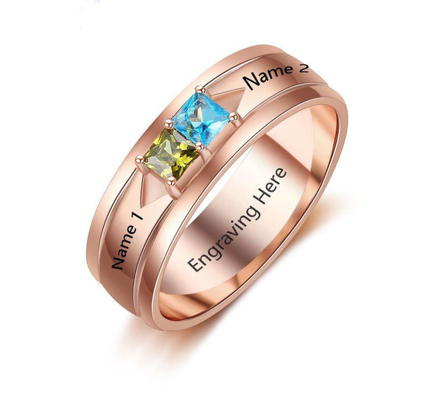 Mothers Ring 2 Stone Square Birthstones 14k Rose IP - Think Engraved