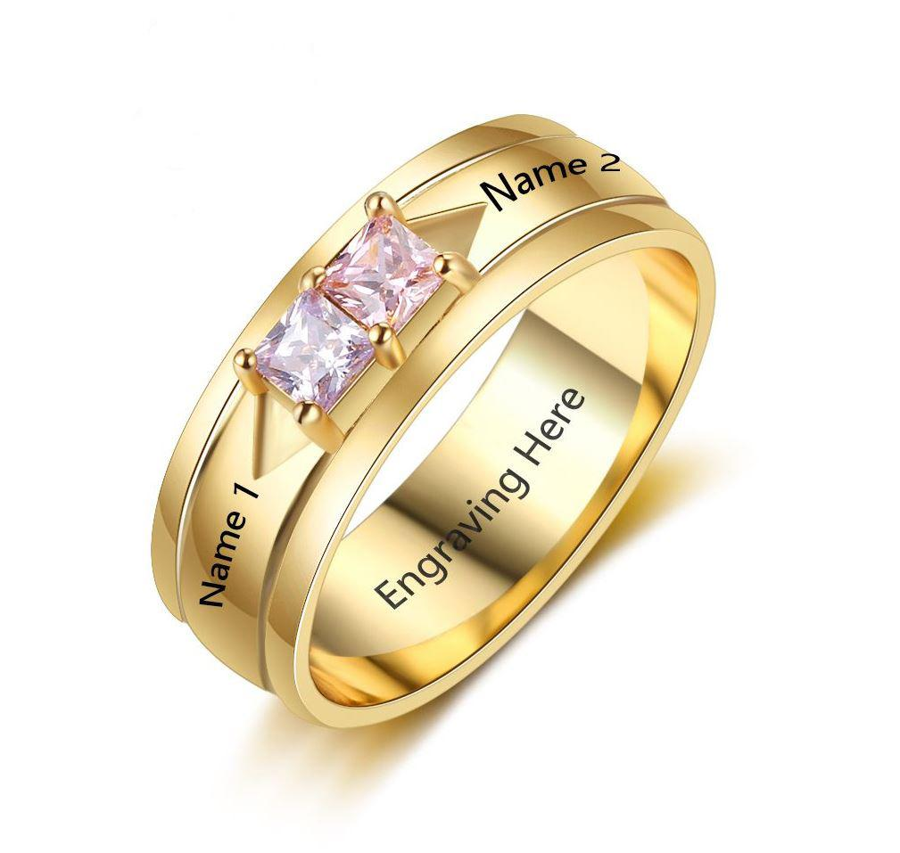 Couple Promise Ring 2 Stone Square Birthstones 14k Gold IP - Think Engraved