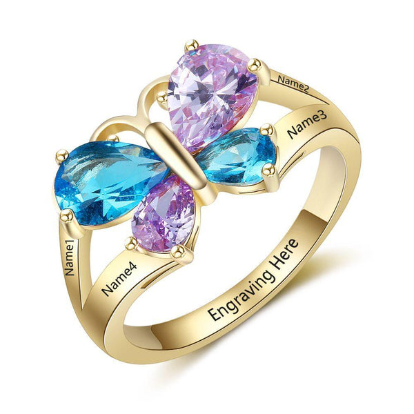 4 Birthstone Mother's Ring Butterfly Design 14k gold IP - Think Engraved