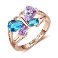 4 Birthstone Mother's Ring Butterfly Design 14k Rose Gold IP - Think Engraved
