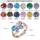 4 Birthstone Mother's Ring Butterfly Design 14k Rose Gold IP