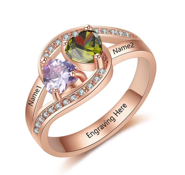 Birthstone Mother's Ring with Engraved Names 14k Rose Gold IP
