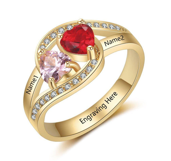 Birthstone Mother's Ring with Engraved Names 14k Gold IP