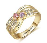 Women's Promise Ring 14K Gold IP 2 Birthstone Twin Lines - Think Engraved