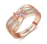 Mothers Ring Rose Gold IP 2 Birthstone Twin Lines - Think Engraved