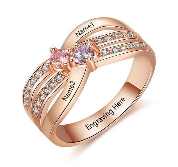 Women's Promise Ring Rose Gold IP 2 Birthstone Twin Lines - Think Engraved