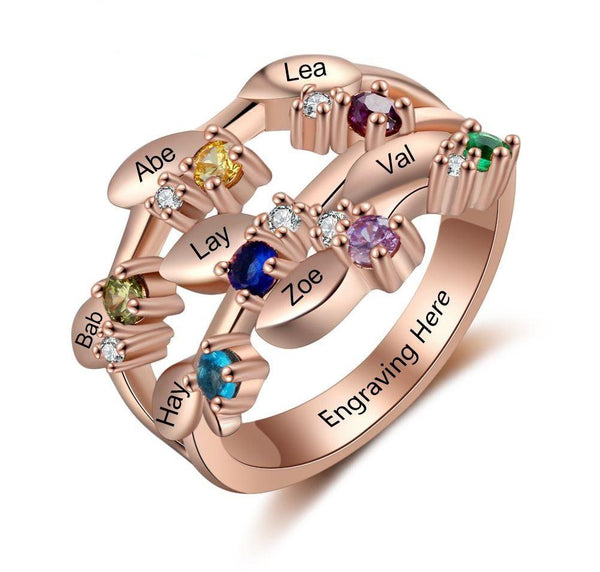 Personalized Mother's Ring Rose Gold 7 Birthstones 7 Names