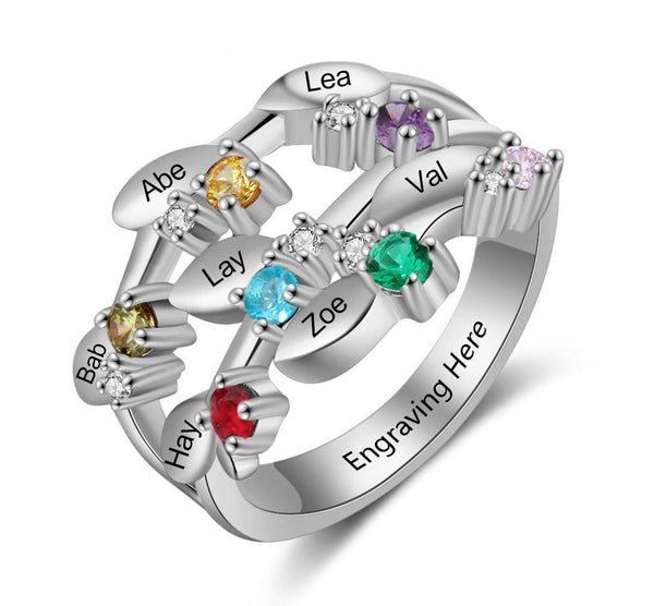 Personalized Mother's Ring 7 Birthstones 7 Names