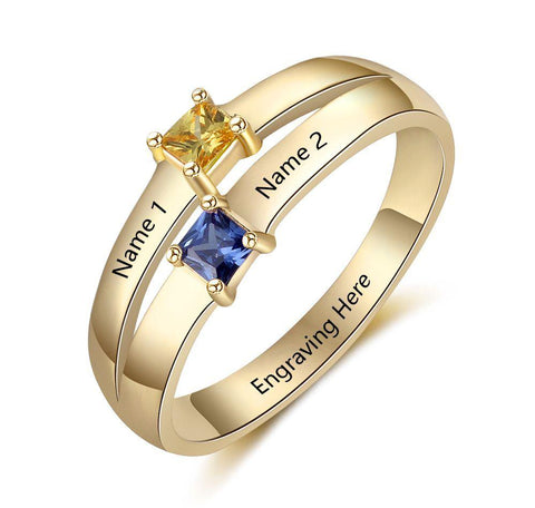 Mother's Ring 2 Stone  2 Engraved Names 14k Gold IP - Think Engraved