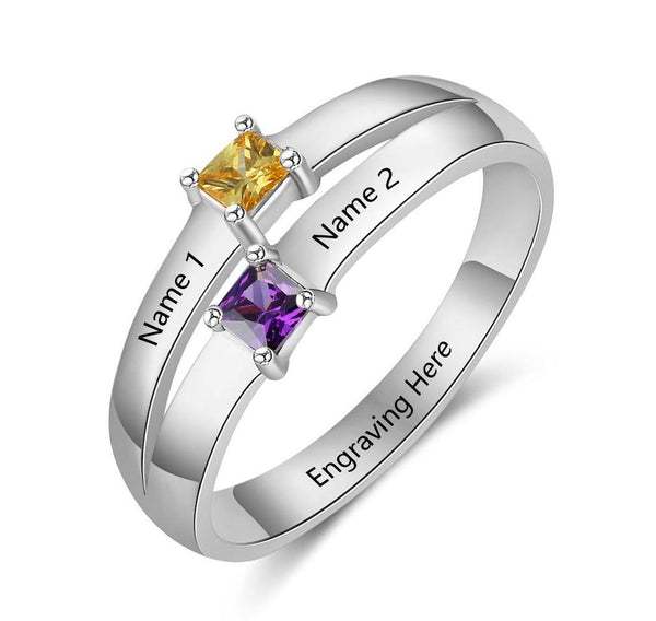 Personalized 2 Birthstone Ring With 2 Engraved Names