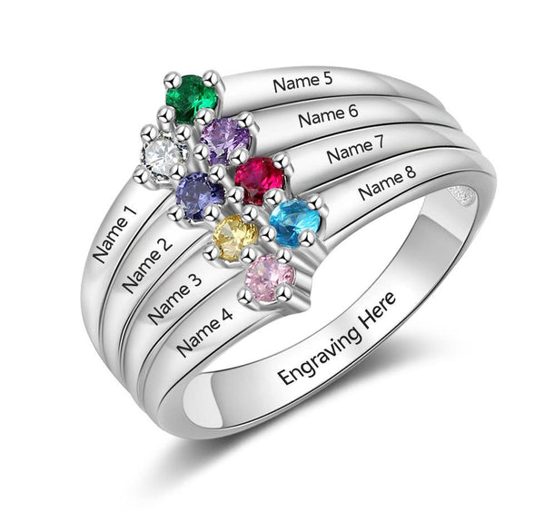 Personalized Mother's Ring 8 Birthstones 8 Names