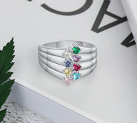 Personalized Mother's Ring 8 Birthstones 8 Names - Think Engraved