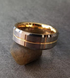 Mens Engraved Tungsten Wedding Brushed Gunmetal Steel 14k Gold Ip Trim - Think Engraved