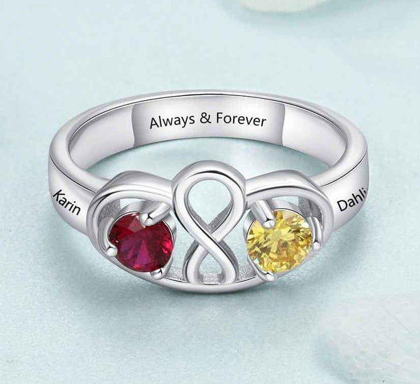 Infinity Mothers Ring 2 Birthstones 2 Engraved Names - Think Engraved