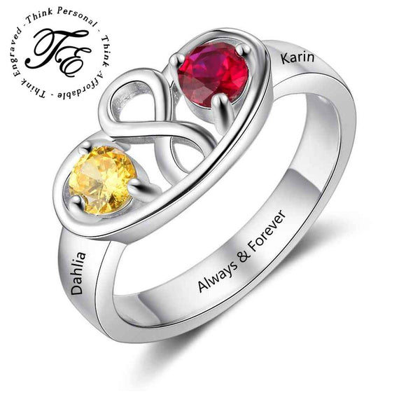 Infinity Mothers Ring 2 Birthstones 2 Engraved Names