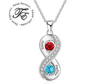 2 Stone Mother's Infinity Necklace 2 Engraved Names - Think Engraved