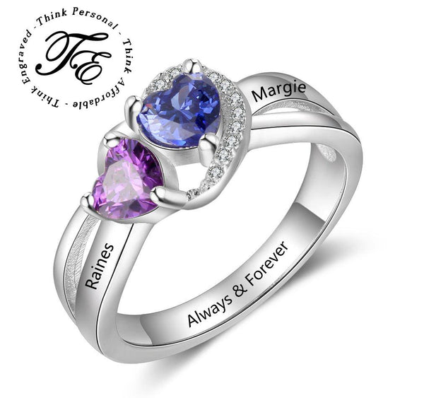 Mother's Ring 2 Heart Birthstones 2 Engraved Names