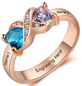 Personalized Mother's Ring 2 Stone 2 Name Rose Gold ip - Think Engraved