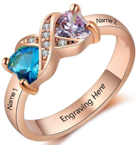 Personalized Mother's Ring 2 Stone 2 Name Rose Gold ip
