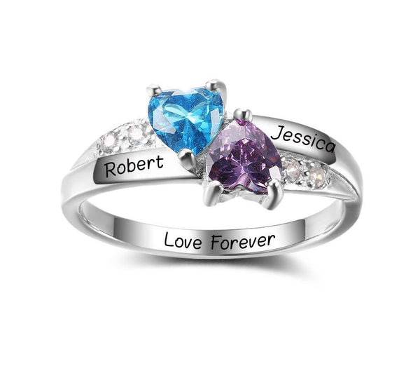 2 Stone Turned Hearts Mothers Ring or Promise Ring - Think Engraved