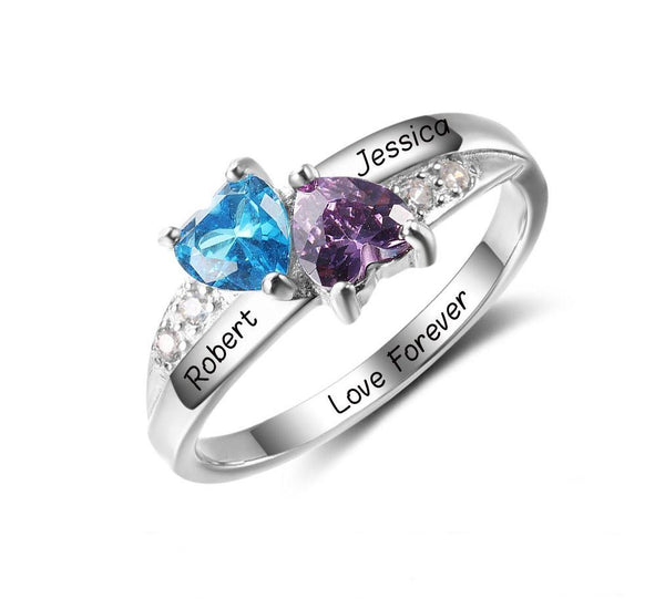 2 Stone Turned Hearts Mothers Ring or Promise Ring