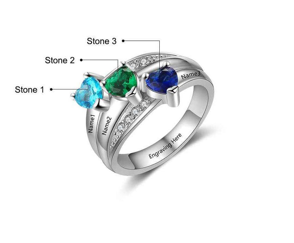 Mother's Ring 3 Heart Birthstones 3 Engraved Names - Think Engraved