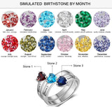 Mother's Ring 3 Heart Birthstones 3 Names Split Band