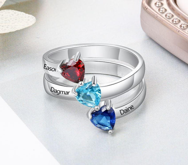 Mother's Ring 3 Heart Birthstones 3 Names Split Band - Think Engraved
