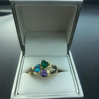 Mother's Ring 3 Stone Three Loves 14k Gold IP