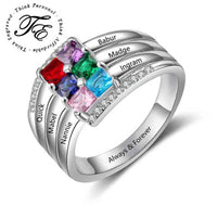 Mothers Ring 6 Square Birthstones and 6 Engraved Names