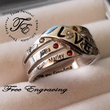 6 Stone Personalized Mother's LOVE Family Birthstone Ring - Think Engraved
