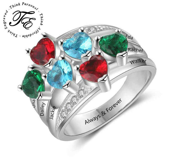 Mothers Ring 6 Birthstones and 6 Engraved Names - Think Engraved