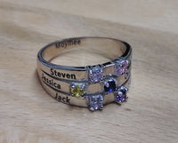 6 Stone Ribbon Band Mother's Ring - Think Engraved