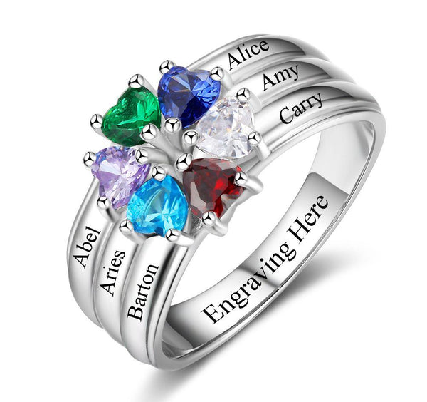 6 Stone Personalized Hearts Love Family Birthstone Ring